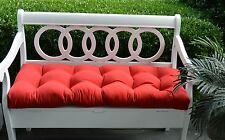 Solid Red Tufted Cushion for Bench ~ Swing ~ Glider Indoor Outdoor ~ Choose Size