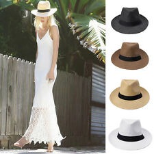 Women Men Sun Beach Straw Hat Panama Ribbon Pinch Top Crown Brim Trim Cap Unisex