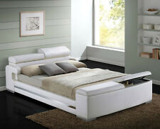 NEW HERMAN MODERN WHITE BYCAST LEATHER QUEEN or KING PLATFORM BED w/ STORAGE