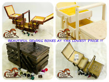 Medium Wooden Sewing / Jewellery Box Sculpted Design Hand Crafted 4 Colors !!!