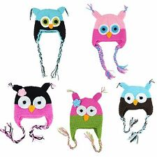 Kids Toddler Baby Girl's Boy's Cute OWL Animal Crochet Knit Woolly Cap Ear Hat