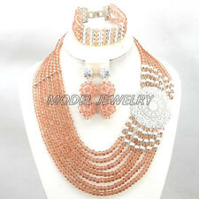 Nigerian Wedding African Crystal Beads Jewelry Set,African Crystal Necklace Set
