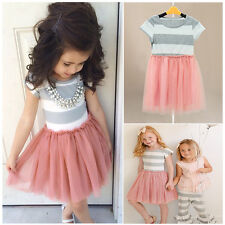 Summer Kids Girls Toddler Baby Princess Short Sleeve Striped Fancy Dress Clothes