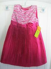 PENELOPE MACK GIRLS LACE ACCORDION PLEATED PINK EASTER DRESS SIZE NWT NEW 2t 3t