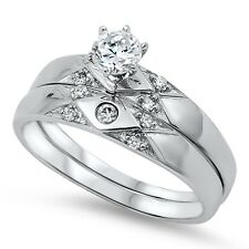 .925 Sterling Silver Round Clear CZ Solitaire Wedding Ring Set Size 6 7 8 9 10