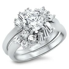 .925 Sterling Silver Engagement Wedding Ring Set Round Clear CZ Size 5 6 7 8 9