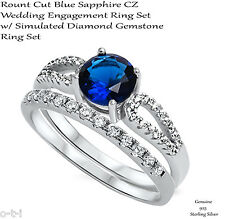 Brilliant Cut Blue Sapphire Engagement / Wedding Sterling Silver Two Ring Set