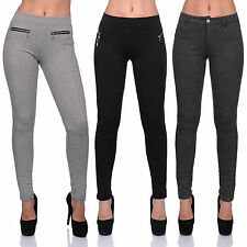 Damen Stretch Hose breiter Bund Jeggings Treggings Leggings Röhre Stoff Leggins