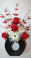 Artificial Silk Flower Arrangement Red & Cream Flowers in Vase With Leaf Spray.