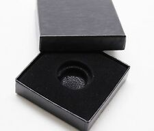 Black Paper Coin Box w Capsule, 1/10th oz Gold, Penny, Dime Black Ring 16mm-19mm