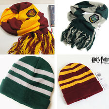 Harry Potter Gryffindor Slytherin Cosplay Scarf Soft Warm Knit Wool Wrap Hat Cap
