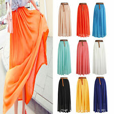 Women Casual Layer Chiffon Pleated Retro Long Maxi Dress Elastic Waist Skirt