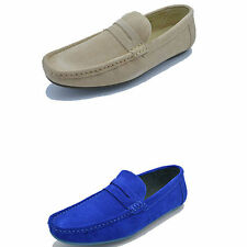 MENS GENUINE SUEDE  ITALIAN LOAFERS MOCCASIN DRIVING CASUAL PARTY SLIPON SHOES
