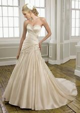New Sexy Champagne Wedding Dress Bridal Gown Stock Size 6-8-10-12-14-16