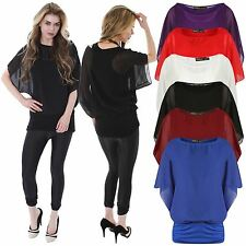 New Ladies Plus Size Blouse 2 In 1 Chiffon Twin Batwing Tops 4-22