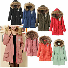 Thick Womens Winter Hooded Cotton Padded Jacket Trench Long Coat Overcoat Parka