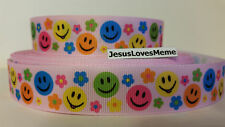 """Grosgrain Ribbon, Multi Color Smiley Faces & Daisy Flowers on Pink, 7/8"""" Wide"""
