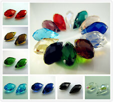 Free Lot Faceted Crystal #6010 drops Spacer Loose Beads findings Pendants 12mm