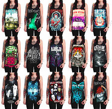 Rock bands Unisex Women's Ladies Graphic Black Cotton Tank Top Vest T-Shirt S-XL
