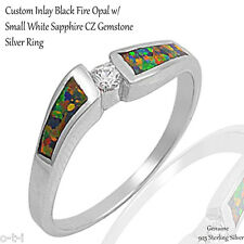 Custom Inlay Black Fire Opal Cut White Sapphire CZ Genuine Sterling Silver Ring