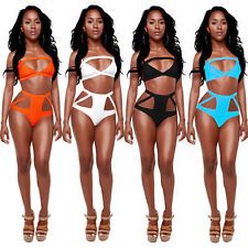 New Sexy High Waisted Vintage Bikini Push-Up Bandeau Monokini Swimsuit Swimwear