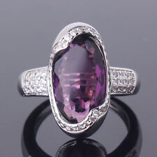Classic design!Sz6-Sz10! Purple Swarovski Crystal 18k white gold filled ring