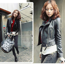 New Fashion Vintage Women Slim Biker Motorcycle Faux Leather Zipper Jacket Coat
