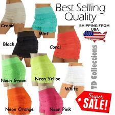 New Womens Ladies Summer Sexy Crochet Layered Lace Hot Pants Shorts Size SM ML