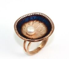 New Sterling Silver Art Nouveau Rose Gold Vermeil  Style Pearl Lily Pad Ring