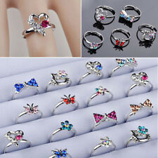 Wholesale Mix Lots Cute CZ Crystal Children Kids Silver plated Adjustable Rings