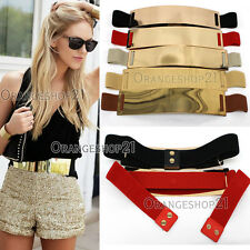 Sexy WOMEN FASHION  Elastic Stretch WAIST HIP WIDE Gold Metal PLATE BELT S~XXL