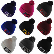 BNWT State Property Dope Black Red Grey Winter Wooly Roll-Up Beanie Bobble Hat