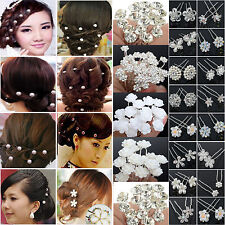 Newest 20/40PCS Wholesale Wedding Bridal Pearl Flower Crystal Hair Pins Clips