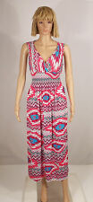 Pink Red Multi Aztec Tribal VNeck Smocked Empire Waist Maxi Dress S M L XL NEW