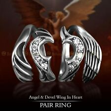 925 Sterling Silver Angel Devil Wing in heart pair Ring Couples Ring Adjustable