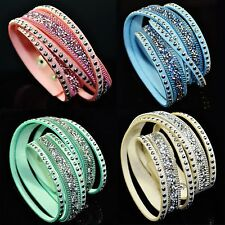 Moda BRACCIALE Donna strass Layered Snap Lady Wristband Rivet catena