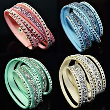 Moda Donna strass Layered Snap Lady Wristband Rivet catena BRACCIALE