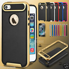 For iPhone 5 5S Hybrid Hard Bumper Soft Rubber Skin Case Cover +Screen Protector