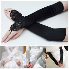 Fingerless Wedding Bridal Bride Dress Costume Gloves Spandex Satin Lace Beaded