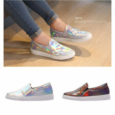 New SNRD SN114 Fashion Hologram Shoes Women Slip on Sneakers Flat Shoes Loafer