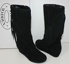 Steve Madden Fringey black suede wedge boots - Big Kids- New in Box!
