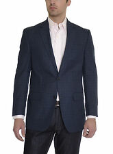 Andrew Fezza Mens Slim Fit Blue Plaid Two Button Blazer Sportcoat