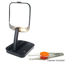 Floxite 10x Magnifying Lighted Compact Travel Mirror w Stainless Steel Tweezer