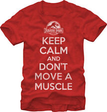 Jurassic Park Keep Calm Don't Move A Muscle Licensed NWT Adult Red T-Shirt