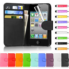 FLIP WALLET LEATHER CASE COVER FITS APPLE IPHONE 4 4S FREE SCREEN PROTECTOR