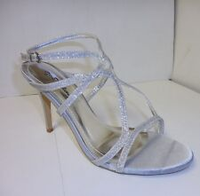 Women's Silver Glitter Criss Cross High Heel Party Shoes Sizes: 5 1/2 - 10