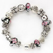 European charm bracelet Black Pink White Murano glass beads My Love
