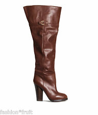 H&M Trend Premium Real Leather Knee High Heel Boots Brown UK5 EU38 US7