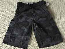 NWT Men's Abalanche Black Charcoal Camouflage Camo Belted Cargo Shorts ALL SIZE