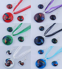 Round Dichroic Foil Lampwork Glass Murano Pendant Necklace Earrings Jewelry Sets